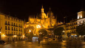 Night view of Segovia Cathedral Stock Photography