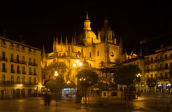 Night view of Segovia Cathedral Royalty Free Stock Photos