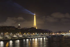 Night view of Seine river and Eiffel tower. In Paris Stock Photography