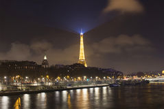 Night view of Seine river and Eiffel tower. In Paris Royalty Free Stock Photography