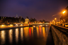 Night view of the Seine river in Paris Stock Photography