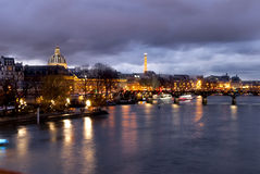 Night view of the Seine River in Paris in front of the Eiffel Stock Photo