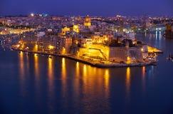 The night view of Senglea peninsula from Valletta, Malta Stock Photography