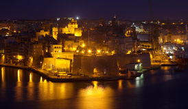 Night view of  Senglea  from Valetta Royalty Free Stock Images