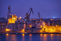 The night view of Senglea, Valletta, Malta Stock Image