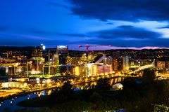 A night view of Sentrum area of Oslo, Norway, with Barcode buildings royalty free stock images