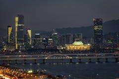 Night view of Seongsan bridge and Yeouido stock images