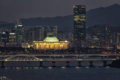 Night view of Seongsan bridge and Yeouido royalty free stock photos