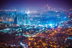 Night panorama of Seoul city shot from Namsan tower - South Korea. Night view of Seoul city seen from the top of Namsan tower - South Korea Stock Images
