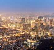 Night view of Seoul Downtown cityscape Royalty Free Stock Photo