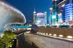 Night view of Seoul. Seoul, Republic of Korea - 15 August 2014: Night view of Dongdaemun Plaza, skyscrapers and shopping area on August 15, 2014, Seoul, Korea Stock Image