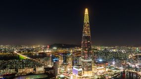 Night view of Seoul, Seoul skyline, South Korea. royalty free stock photography