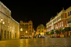 Night view of seville Royalty Free Stock Photos