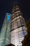 Night view of SFWC and  Jin Mao Tower. Stock Photography