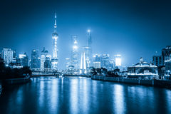 Night view of shanghai with blue tone Royalty Free Stock Photo