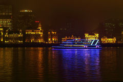 Night of Shanghai Bund, Shanghai Huangpu River Royalty Free Stock Photo