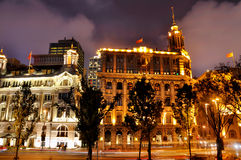 Night view of Shanghai Bund lighting buildings Stock Photos
