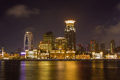 Night view shanghai bund from pudong district Stock Image