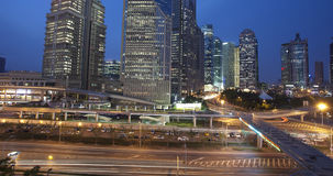 Night view of shanghai business center Stock Images
