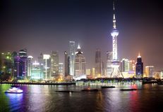 Night view of Shanghai, China. / Pudong / modern buildings royalty free stock photos