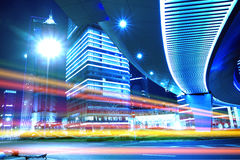 Night view of Shanghai City. Night Light trace modern architecture background in Shanghai Lujiazui China Stock Photos