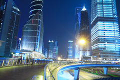 Night view of Shanghai City Beautiful. Night Light trace modern architecture background in Shanghai Lujiazui China Royalty Free Stock Photos