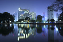 Night view of Shanghai city downtown area Stock Photos