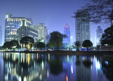 Night view of Shanghai city downtown area Stock Photo