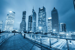 Night view of shanghai financial center skyline. Shanghai lujiazui financial center skyline ,night view from the sightseeing footbridge royalty free stock photos