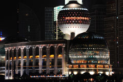 Night view of Shanghai International Conference CenterTower Royalty Free Stock Images