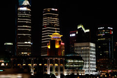 Night view of the shanghai lujiazui finance and trade zone skyline. Stock Image