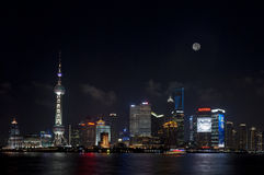 Night view of Shanghai Lujiazui Full Moon Stock Photo