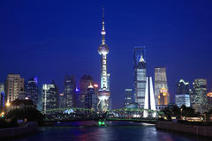 Night view of Shanghai Oriental Pearl TV Tower. Lujiazui Finance and Trade Zone, Night Light trace modern architecture  background  in Shanghai, China Stock Image