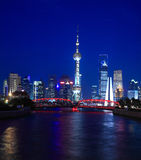 Night view of Shanghai Oriental Pearl TV Tower. Shanghai Lujiazui Finance & Trade Zone modern city night background stock photography