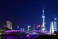 Night view of Shanghai Oriental Pearl TV Tower Stock Image