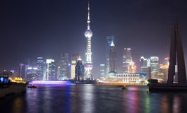 Night View of Shanghai with Pearl Tower Stock Images