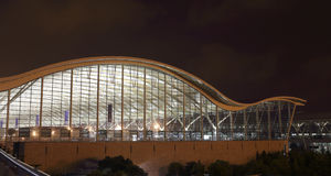 The night view of Shanghai pudong international airport Royalty Free Stock Images