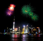 Night view at shanghai tower and firework, China Royalty Free Stock Photos