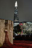 Night View of the Shard. A view of the tallest building in Europe, The Shard stock photos