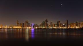 Night view of Sharjah UAE. SHARJAH, UAE - NOVEMBER 01: Night view of Sharjah, on November 01, 2013. Sharjah is located along northern coast of Persian Gulf on stock photos