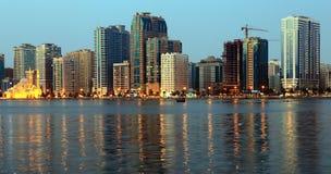 Night view of Sharjah UAE Stock Photo