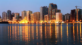 Night view of Sharjah UAE Stock Photography