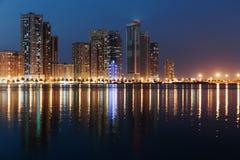 Night view of Sharjah UAE. SHARJAH, UAE - OCTOBER 29: Night view of Sharjah, on October 29, 2013. Sharjah is located along northern coast of Persian Gulf on stock photo