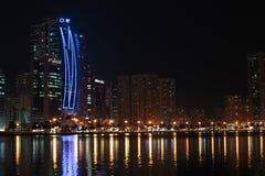 Night view of Sharjah UAE. SHARJAH, UAE - OCTOBER 29: Night view of Sharjah, on October 29, 2013. Sharjah is located along northern coast of Persian Gulf on royalty free stock photo