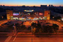 Night view of the shopping center in a residential area of the c Stock Photos