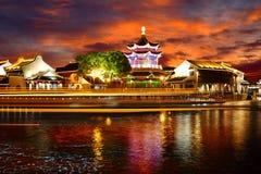 Night view of Shuzhou city, China stock images
