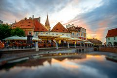 Night view on Sibiu city Royalty Free Stock Image