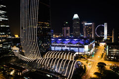 Night view Singapore Downtown, Convention Centre. At night Royalty Free Stock Photography