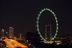 Night View of The Singapore Flyer Stock Image