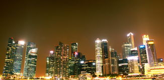 Singapore city evening skyline. Night view of singapore river and cbd Stock Photos